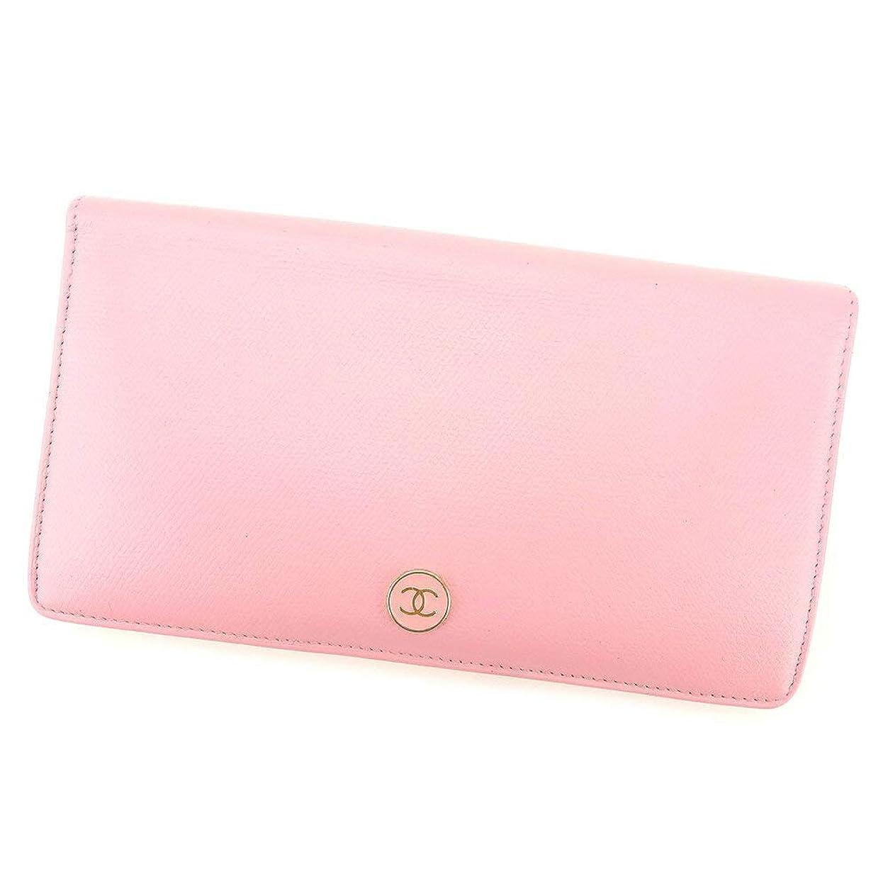 細心のアルファベットメール(シャネル) Chanel 長財布 ファスナー付き 長財布 ピンク ココボタン レディース 中古 T8391