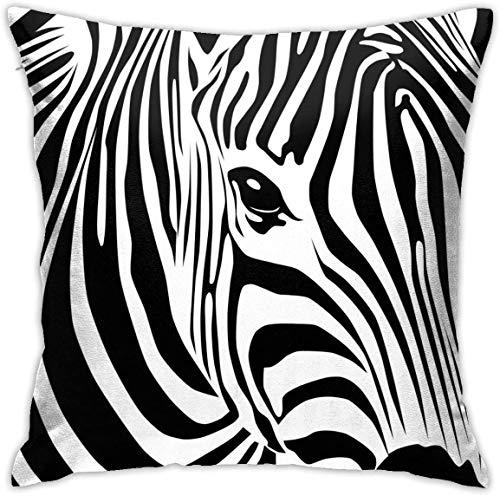 N/Q Animal Stripe Zebra Black White Throw Pillow Covers Decorative 18x18 Inch Pillowcase Square Cushion Cases for Home Sofa Bedroom Livingroom