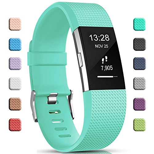 Gogoings Kompatibel mit Fitbit Charge 2 Armband Original Teal, Soft Silikon Verstellbares Ersetzerband Damen Herren Uhrenarmband Armbänder für Fitbit Charge2 Fitness Zubehör Klein