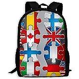 wobuzhidaoshamingzi Mochila Escolar Puzzle Iconos de la Bandera Mochila Bolsa de Viaje Informal para Adultos