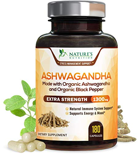 Ashwagandha 1310mg Organic Ashwagandha Root Powder and Black Pepper Extract for Increased Absorption, Made in USA, Natural Stress and Mood Support Supplement - Vegan, Non-GMO - 180 Capsules
