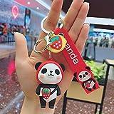 Llavero para manualidades con diseño de panda con diseño de muñeco de frutas y coche con hebilla multicolor para niños, llavero de decoración popular (color: rojo)