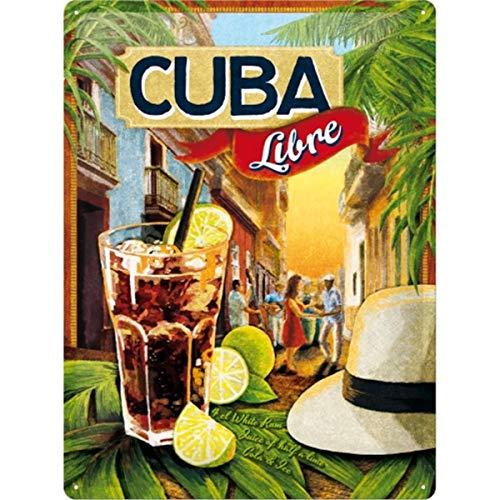 Art Cuba Libre Placa Decorativa, Metal, 30 x 40 cm