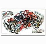 VVSUN BMW M3 E30 Series Super Racing Car Lienzo Pintura Cartel Impresiones Imagen de Pared para decoración de habitación del hogar 50X70cm 20x28 Pulgadas sin Marco