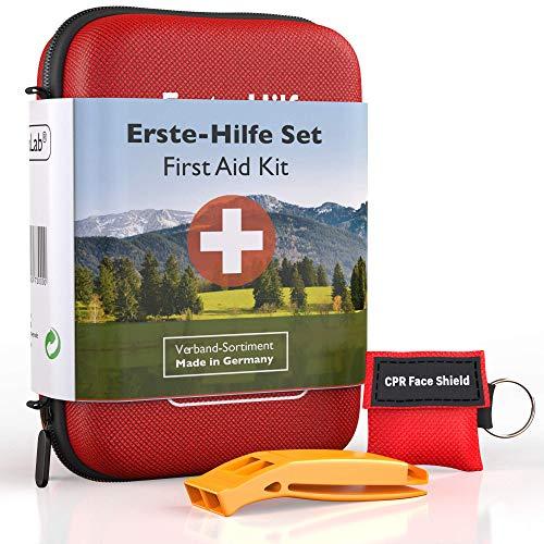 GoLab Erste Hilfe Set Outdoor, Sport & Reisen mit Notfallbeatmungsmaske + Signalpfeife für die optimale Erstversorgung aus Deutschland nach DIN 13167