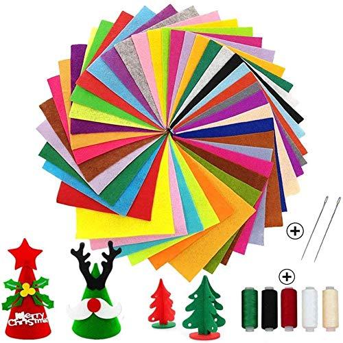 Filz-Stoffbögen, 15,2 x 15,2 cm, Filzquadrate, Bastelfilz-Set mit verschiedenen Farben, Vlies-Filzbögen für Kinder, DIY, Basteln, manuelle Dekoration, Patchwork, Weihnachtsdekoration, 40 Stück