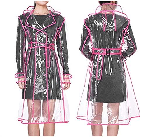SASAU Capa de Lluvia Impermeable Transparente plástico Claro Long Damas Impermeables Mujeres Hombres Moda caprichos Chaquetas con Capucha con cinturón (Color : Rose Red HEM)