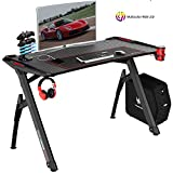 VIT 63 Inch Ergonomic Gaming Desk, T-Shaped Office PC Computer Desk with Full Desk Mouse Pad, Gamer Tables Pro with USB Gaming Handle Rack, Stand Cup Holder&Headphone Hook (Classic Black)