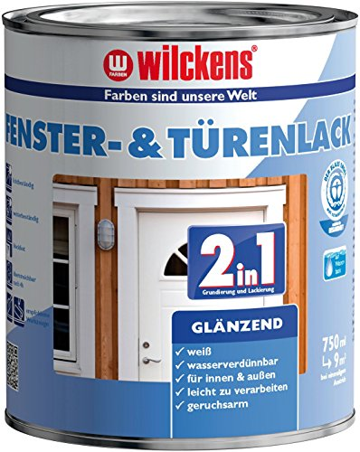 2in1 Türen und Fensterlack weiss inkl. Pinsel von E-Com24 zum Auftragen (2 in 1 750 ml glänzend)