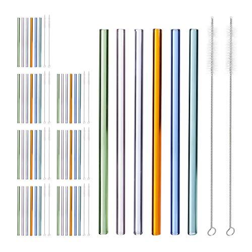 48 x Strohhalm Glas, gerade, wiederverwendbare Trinkhalme, 23 cm, mit Bürste, nachhaltig, Glasstrohhalme, Ø 10 mm, bunt