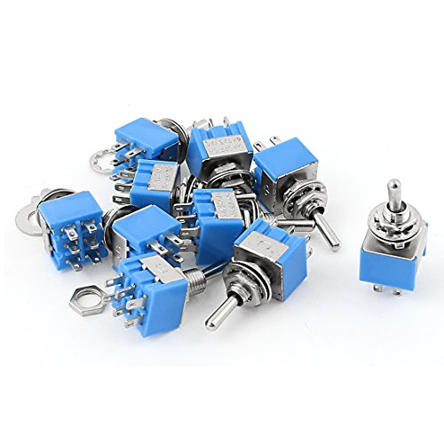 sourcing map 100AC 125V 6A ON-OFF-ON Nockenschalter DPDT Latching Mini Toggle Switch Blau 6mm de