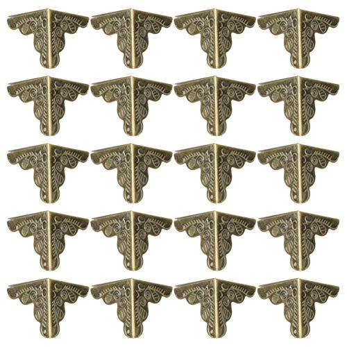 GARNECK 30 stücke 25mm möbel kantenschutz antiken stil dreieck box kantenschutz schutz pads schreibtischkante abdeckungen (bronze)