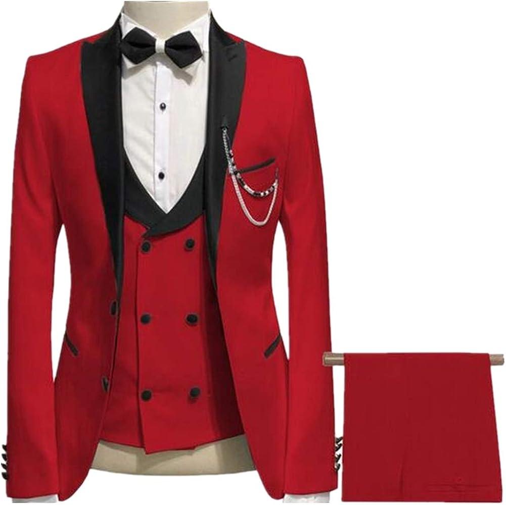Peak Lapel Slim Fit Men Suit 3 PC(Jacket+Pants+Vest) Blazer Formal Business Grooms Tuxedo