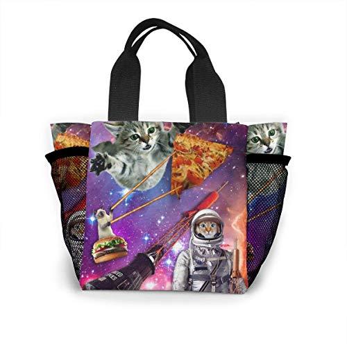 not applicable Wiederverwendbare Einkaufstasche von Astronaut Pizza Laser Cat Einkaufstasche aus Ripstop-Polyester oder Lunchpaket