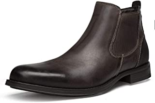 SHENTIANWEI Chelsea Boot for Men Ankle Boot Pull on Genuine Leather Elastic Block Heel Side Zipper(Fleece Lined & Invisible Taller Optional) (Color : Brown (Taller), Size : 8.5 UK)