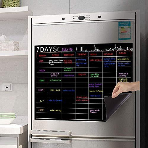 Cubber1996 - Organizador semanal de borrado en seco y planificador para nevera de cocina con tecnología resistente a las manchas,...