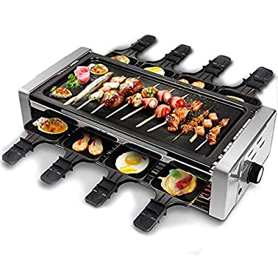 Electric Raclette Grill?Electric BBQ Grill Outdoor and Indoor,Smokeless Grill with Removable Nonstick Plate, Extra-Large Drip Tray, Cheese Raclette Table Grill?1500W