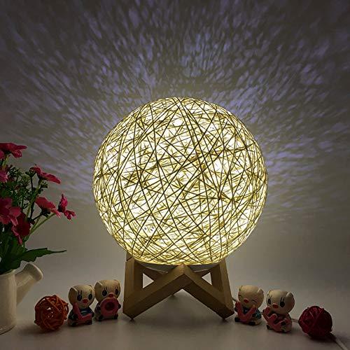 Watopi 1PC 3D LED de ratán, luz de la noche, luz de la luna, mesa creativa de escritorio, lámpara de carga USB, lámpara de mesa de escritorio de la luna lámpara de iluminación ajustable