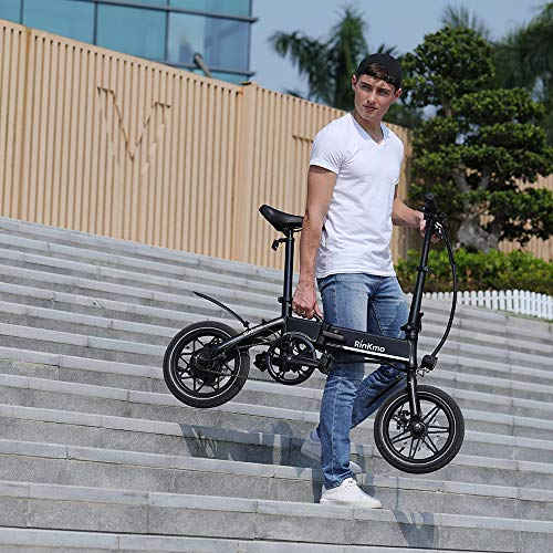 RINKMO FEB-S1 Folding Electric Bike,14 Inch Electric Bicycle with Dual Disc Brakes,36V 8Ah Removable Lithium-Ion Battery, Power Assist,250W Brushless Gear Motor, Suitable for Teens and Adults