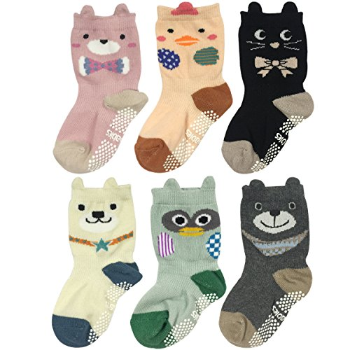 Wrapables Peek A Boo Animal Non-Skid Toddler Socks (Set of 6), Zoo Animals (Small)