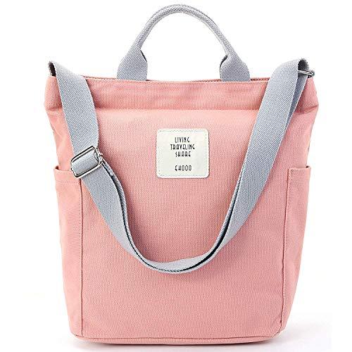 Yidarton Damen Umhängetaschen groß Tasche Casual Handtasche Canvas Chic Damen Schultertasche Henkeltasche für Schule Shopping Arbeit Einkauf (Rosa)