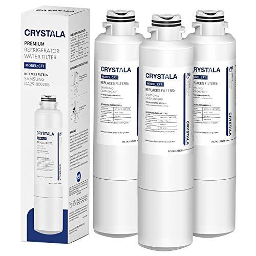 Crystala Filters DA29-00020B Refrigerator Water Filter Compatible with Samsung DA29-00020A/B, DA29-00020B-1, HAF-CIN/EXP, 46-9101, RF4267HARS, RF25HMEDBSR, RF28HMEDBSR, RS25J500DSR, 3 Pack