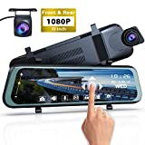 Mirror Dash Cam Front and Rear - 1080P Full HD Stream Media Dual Lens Car Camera ,10 Inch Full Touch Screen...