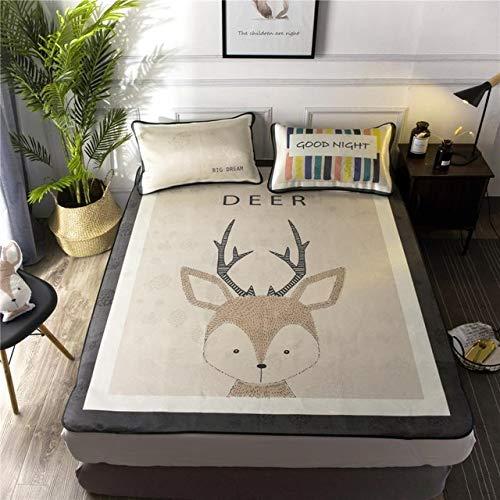 QZXCD hoeslakens kwaliteit hoeslaken Sheet Ice Silk Mat matrashoes grootte 120 * 200/150 * 200 cm zomer Cool Bed Sheet 2 kussenslopen bevatten 150x200cm 2pillowcas 030