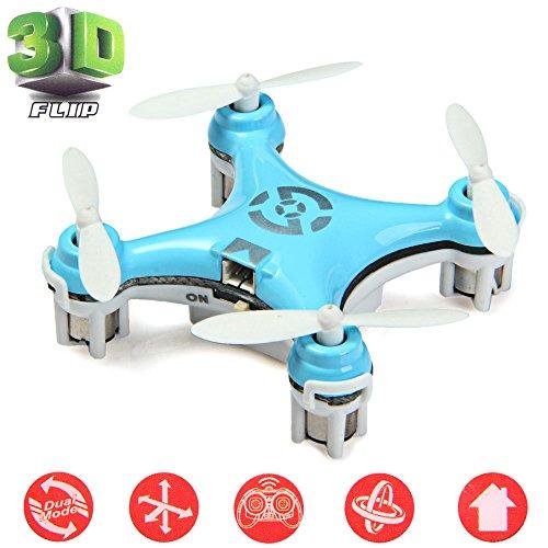 Cheerson® CX-10 Mini Drone Nano Cuadricópteros RTF - 4 Canales 6 Ejes Gyro 360 Grados 2.4G RC Minicóptero con Luz LED (Azul)