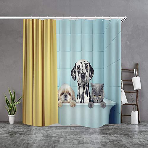 Douchegordijnen textiel milieuvriendelijk polyester waterdicht schimmelwerend douchegordijn schattige dierenprint hond
