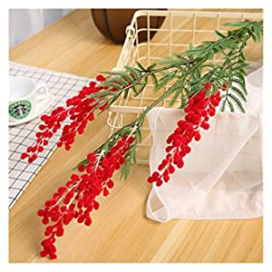 JSJJAED Artificial Flowers 88cm Big Fake Acacia Artificial Flowers Yellow Mimosa Spray Cherry Fruit Branch Wedding Home Table Decoration Fake Flower (Color : Red)
