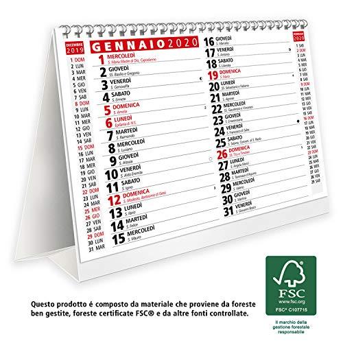 Calendario 2020 da tavolo per casa e ufficio con lune, santi e settimane - prodotto certificato FSC® …