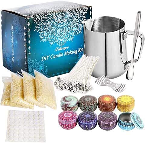 Vosinrly - Kit per realizzare candele per principianti, set fai da te per creare grandi candele profumate con cera di soia, per versare candele e creazioni artistiche