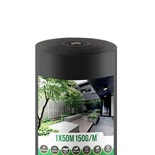 Sekey 1mx50m Gartenvlies 150g/m², Unkrautvliesrolle, Gartenvlies, reißfestes Unkrautschutzvlies, hohe UV-Stabilisierung, wasserdurchlässig