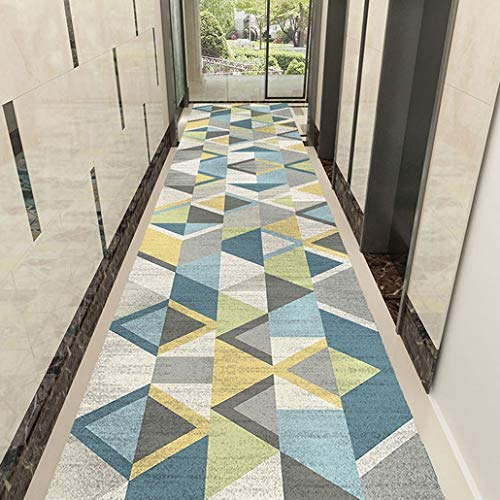 Distressed Simple Geometric Triangle Printing Pattern Light Blue Runner Rug, Area Rug Runner with Non-Skid Rubber Backing, Beige (Color : B, Size : 120×100cm)