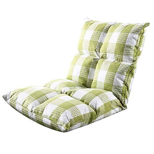 ZYLE Sofá Perezoso Plegable Silla de una Sola Tela Dormitorio Ventana Tatami Cojín Extraíble y Lavable Respirable Confort Casual 50 × 100 cm (Color : Green Plaid)