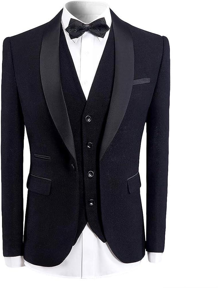 Frank Men's Suit Custom Made Business Formal Fashion Dress Black Shawl Lapel Single Split 3 Pieces Slim Fit Tuxedos