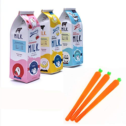 Set of 3 Simulation Milk Pencil Cases + 3 Carrot Gel Ink Pens Kawaii Stationery School Supplies kids gift
