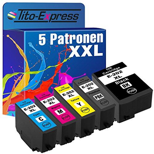 Tito-Express PlatinumSerie 5 Patronen XXL kompatibel mit Epson 202XL 202 XL | Geeignet für Epson Expression Premium XP-6000 XP-6005 XP-6100 XP-6105 | Black 16ml, Color je 10ml XXL-Inhalt