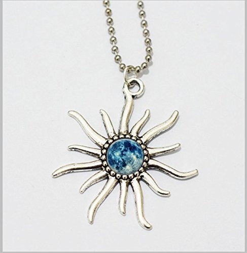 Silver the God of the Sun Necklace Blue moon Man Girls Women Boys Handmade the God of the Sun Necklace Pendant