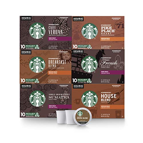 Starbucks Black Coffee KCup Coffee Pods — Variety Pack for Keurig Brewers — 6 Boxes 60 Pods Total