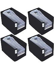 Kuber Industries 4 Piece Non Woven Shirt Stacker Wardrobe Organizer Set, Black-CTKTC31833