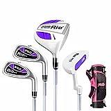 PGM Juego de palos de golf para niños de 9 a 12 años, 4 unidades de palos de golf con bolsa (morado y blanco con bolsa de soporte)