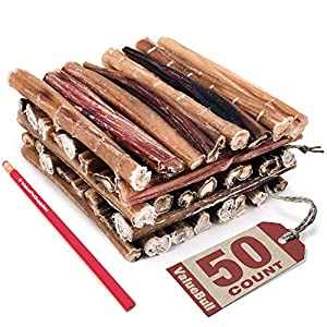 ValueBull Bully Sticks for Dogs, Medium 6 Inch, 50 Count – All Natural Dog Treats, 100% Beef Pizzle, Single Ingredient Rawhide Alternative
