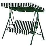 <span class='highlight'><span class='highlight'>SUNMER</span></span> Swing 3 Seater With Detachable Canopy - Garden Swing |Cushioned Seat | Made With Strong Powder Coated Steel Frame | Green And Cream Striped