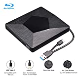 External 3D Blu Ray DVD Drive Burner, Wihool Ultra Slim USB 3.0 and Type-C Blu Ray BD CD DVD Burner Player Writer Reader Disk for Mac OS, Windows xp/7/8/10, Laptop PC (Black)