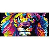 NIEMENGZHEN Arte de la Pared Animales Modernos Pinturas sobre Lienzo en la Pared Carteles e Impresiones Colorido León Lienzo Fotos Decoración para el hogar 23.6'x47.2 (60x120cm) Sin Marco