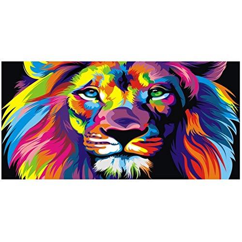 NIEMENGZHEN Arte de la Pared Animales Modernos Pinturas sobre Lienzo en la Pared Carteles e Impresiones Colorido León Lienzo Fotos Decoración para el hogar 23.6