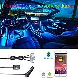 TABEN Kit Luce Ambiente RGB per Auto Interna, 4 Pezzi 48 LED Controller App, sincronizzazione con Musica Suono Funzione di Memoria Attiva Illuminazione Auto con caricabatteria per Auto DC 12V 1W
