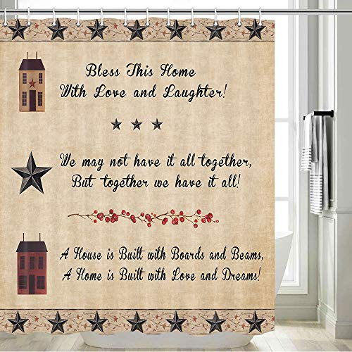 "Primitive Shower Curtain Country Bath Curtain Western Texas Star with Berries Funny Words Vintage Country Barn Bathroom Decor, Primitive Country Shower Curtain Set with Hooks Include, (69""X70"") inch"